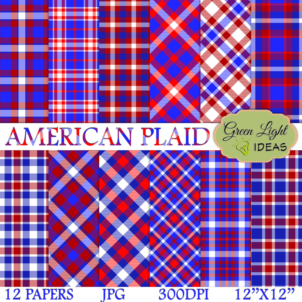 American Plaid Digital Papers example image 1