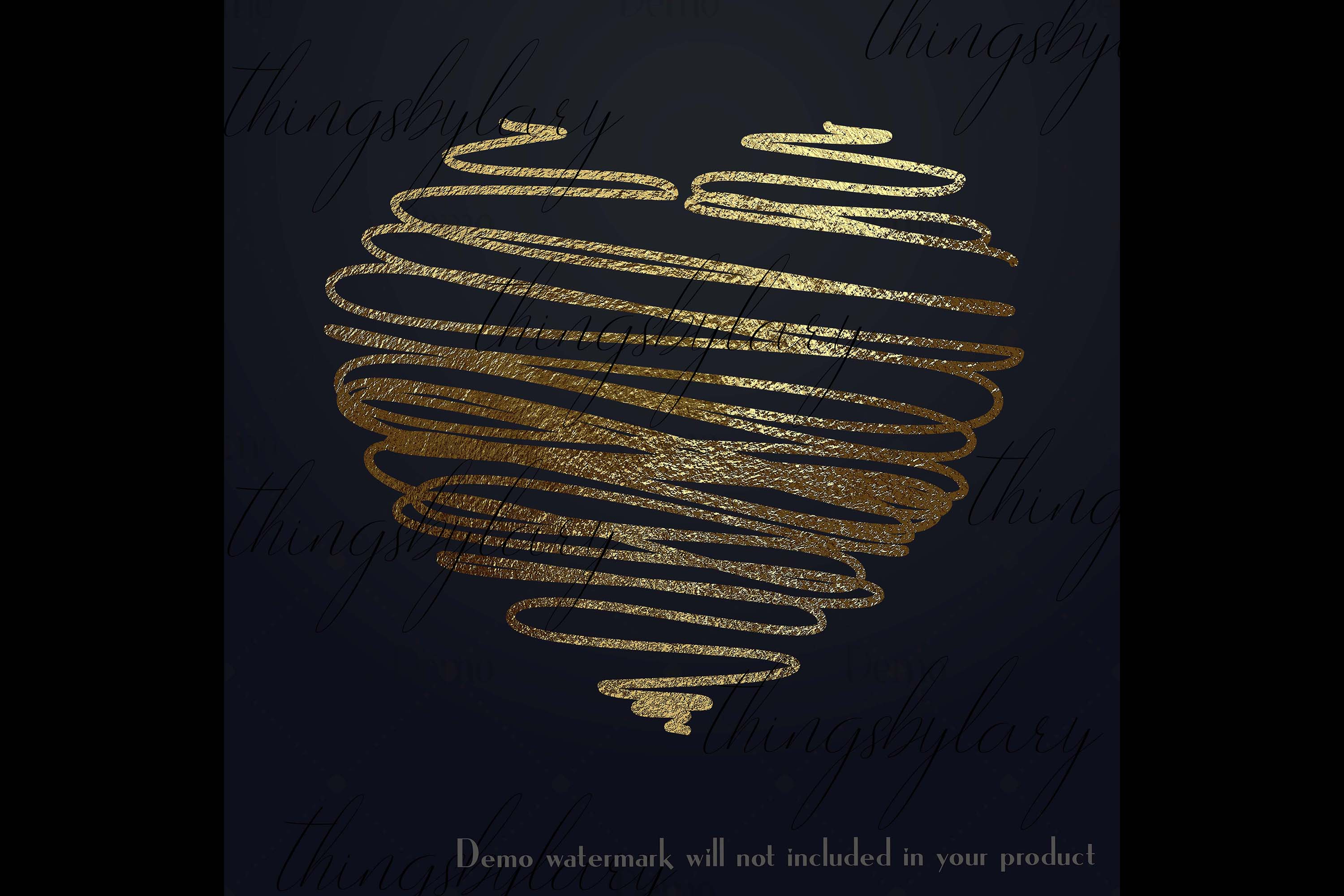 30 Realistic 24k Gold Metallic Hand Drawn Heart Clip Arts example image 3