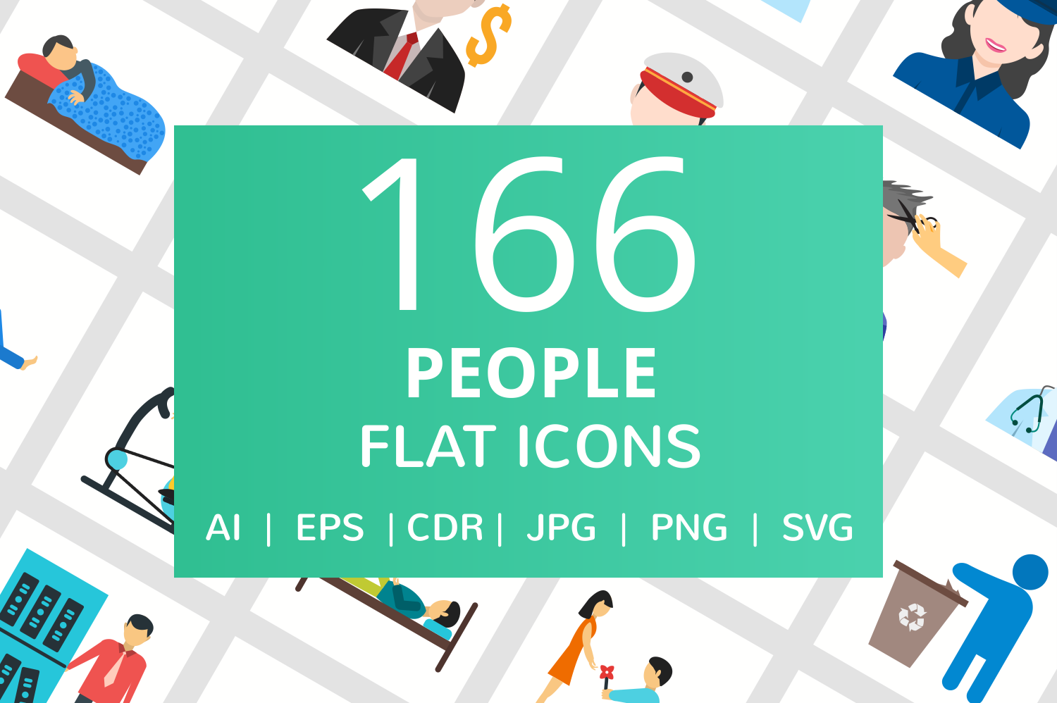 166 People Flat Icons example image 1