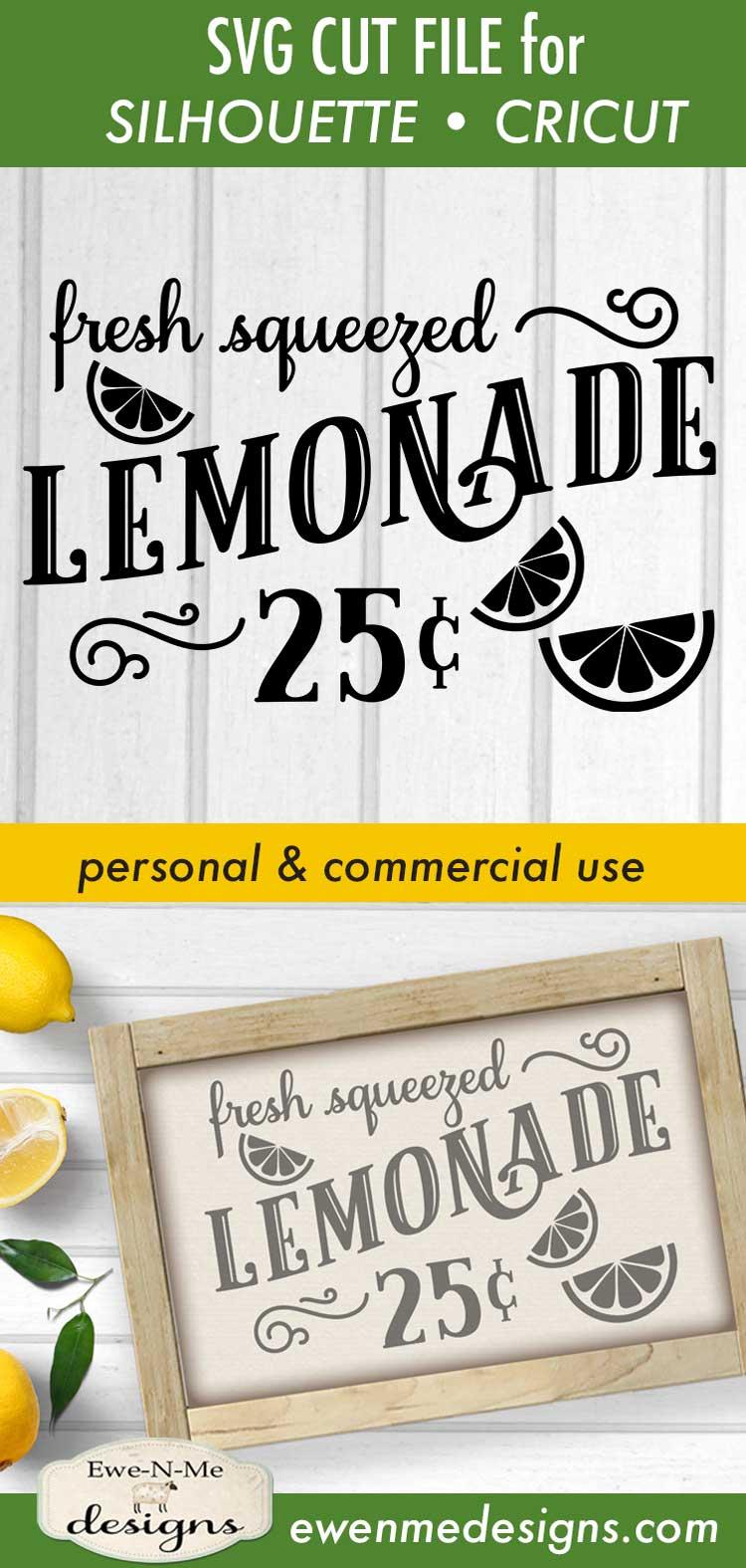 Fresh Squeezed Lemonade - Summer - Lemonade Sign - SVG DXF example image 3