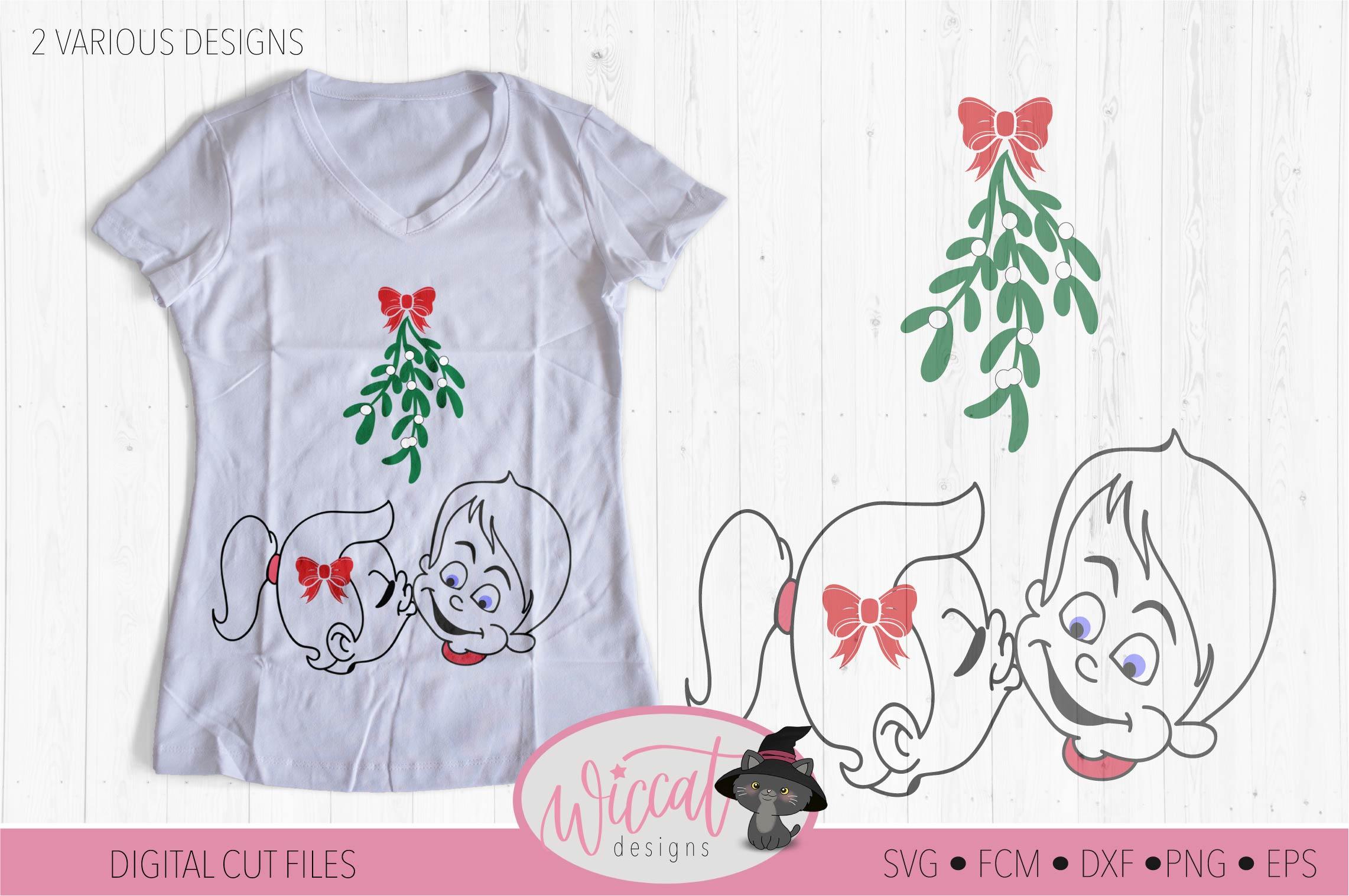 Mistletoe kisses, Girl and Boy mistletoe svg, Couple shirt example image 3