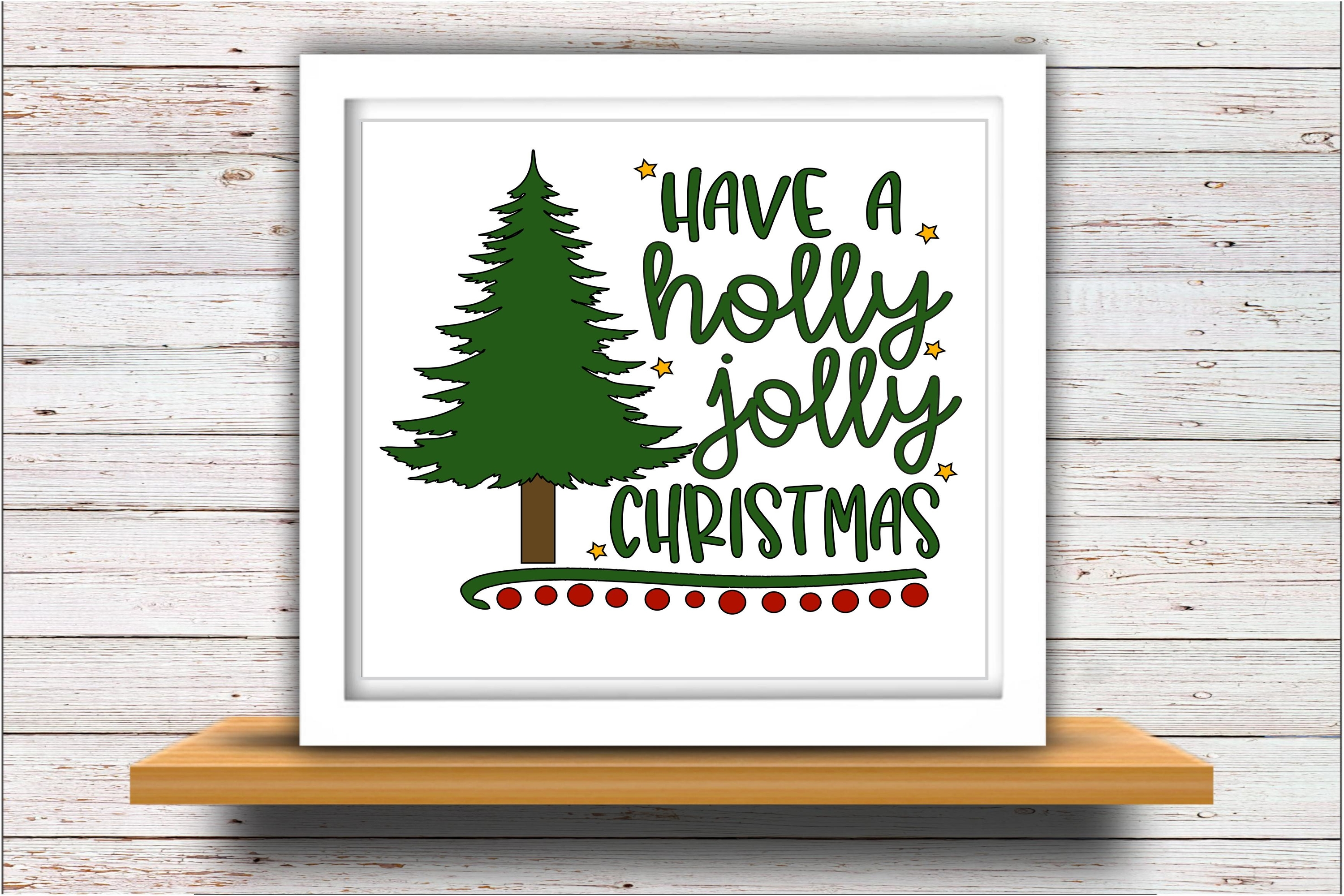 Holly SVG DXF JPEG Silhouette Cameo Cricut Jolly Christmas example image 2