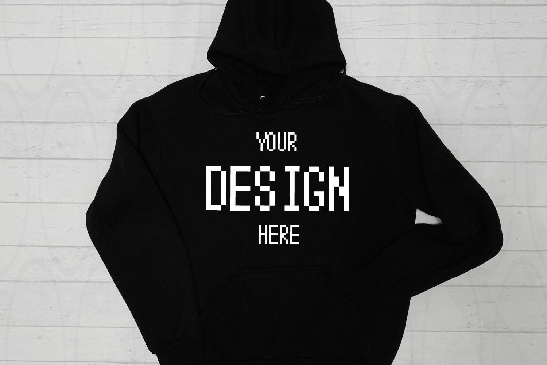 Hooded Sweatshirt Brand Black hoodie Mockup White Wooden example image 1