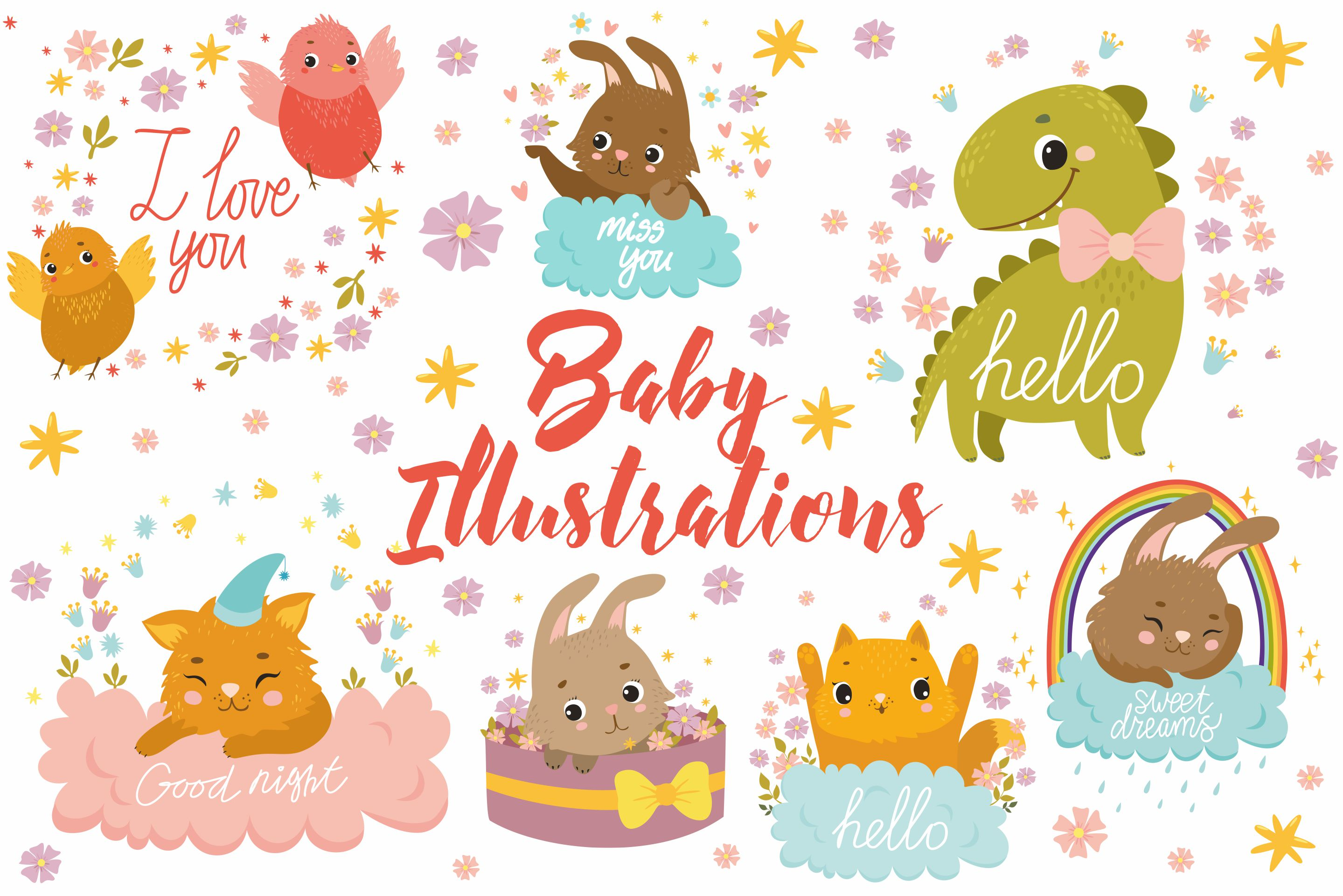 Baby Illistrations/ kid patterns example image 1