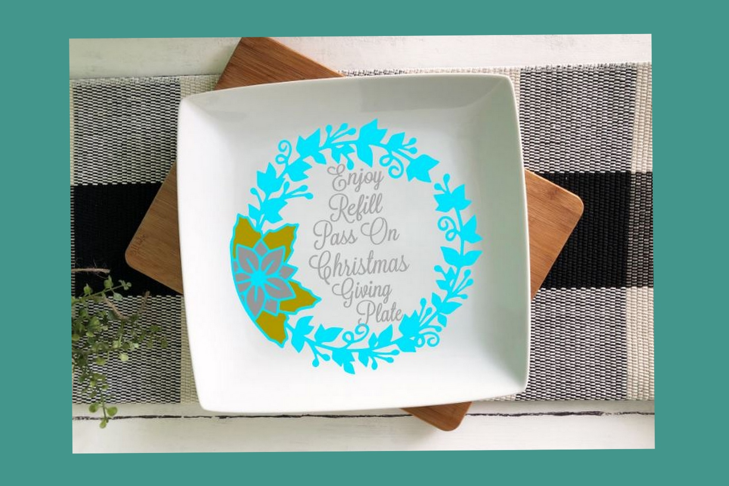SVG Cut File Christmas Giving Plate Design #05 example image 2