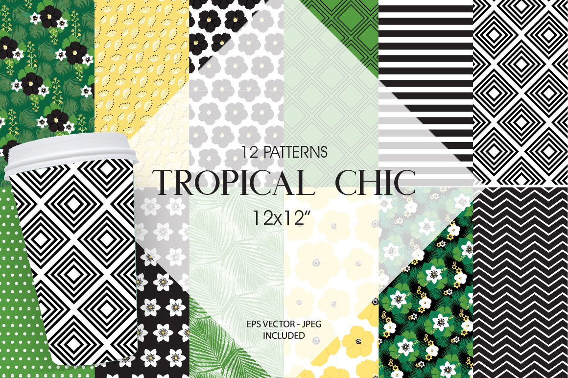 Tropical chic Pattern collection, vector ai, eps and jp example image 1