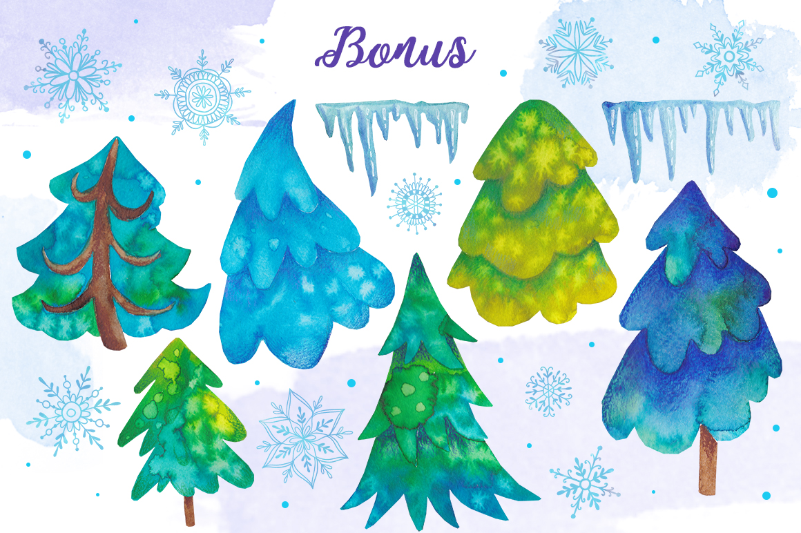 Watercolor snowflakes example image 5