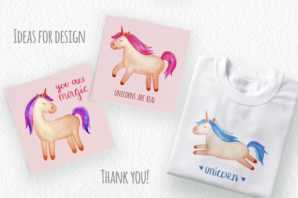 Watercolor Unicorn Set. Seamless Patterns, Clipart example image 8