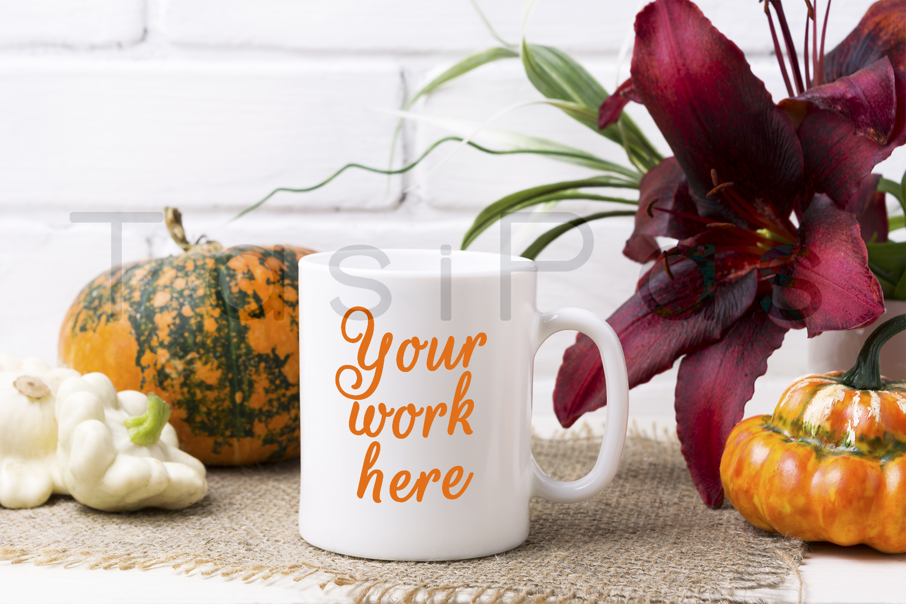 White coffee mug mockup with pumpkin example image 1