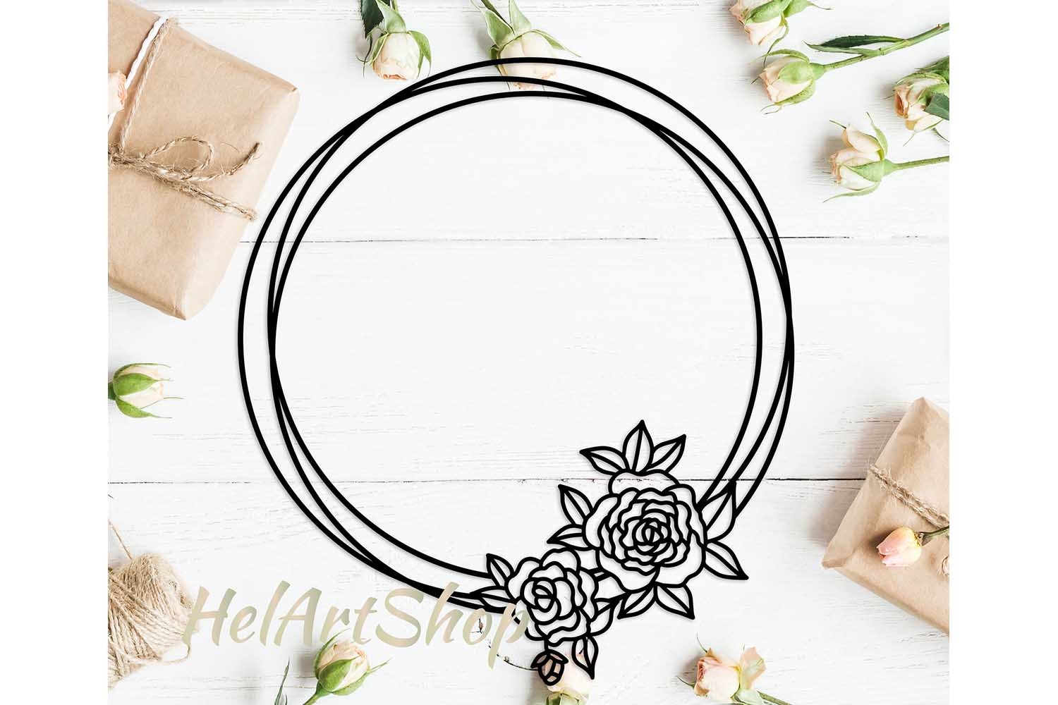 Flower Frame SVG, Flower Wreath svg, Wreath SVG file example image 1