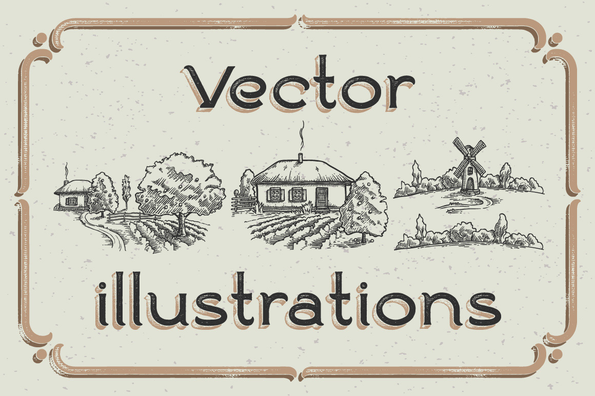 Ranch vintage font & illustrations example image 5