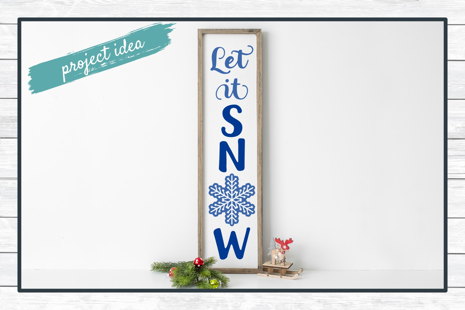 Let It Snow Holiday Porch Sign Design - Christmas SVG example image 2