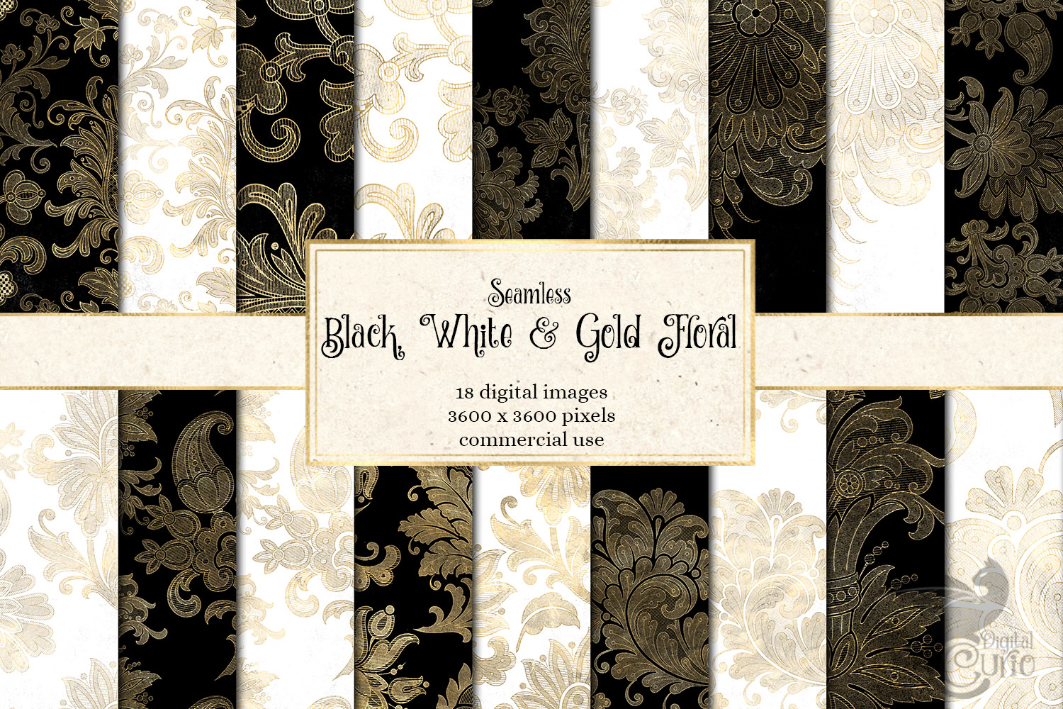 Black White and Gold Floral Digital Paper example image 1