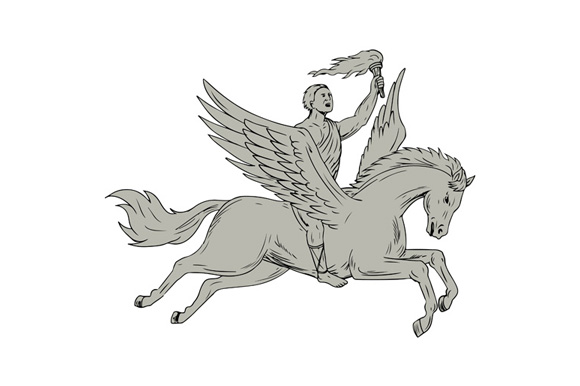 Bellerophon Riding Pegasus Holding Torch Drawing example image 1