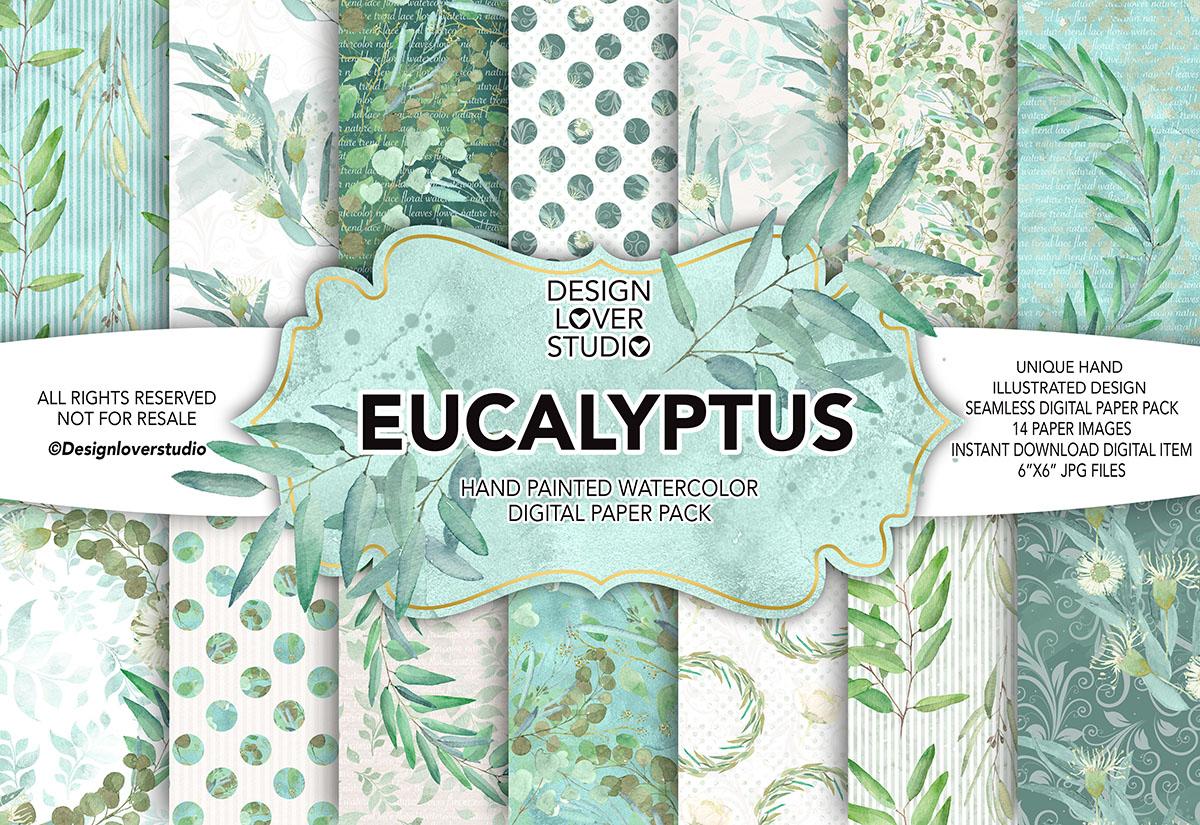 Watercolor EUCALYPTUS digital paper pack example image 1