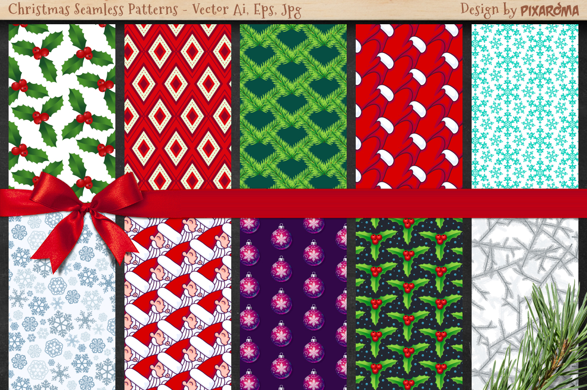 50 Christmas Seamless Patterns example image 5