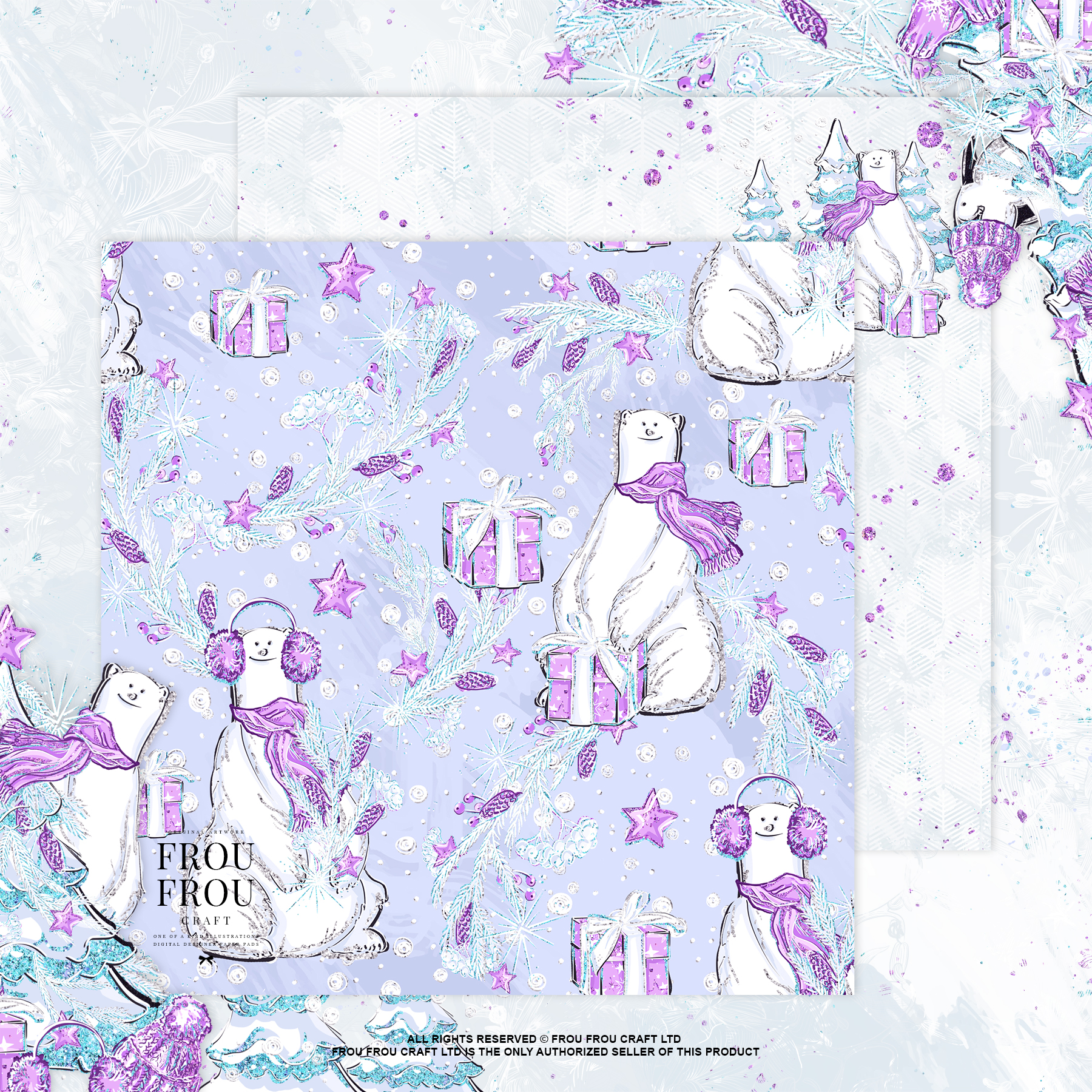 Winter Christmas Tree Penguin Bear Paper Pack example image 9