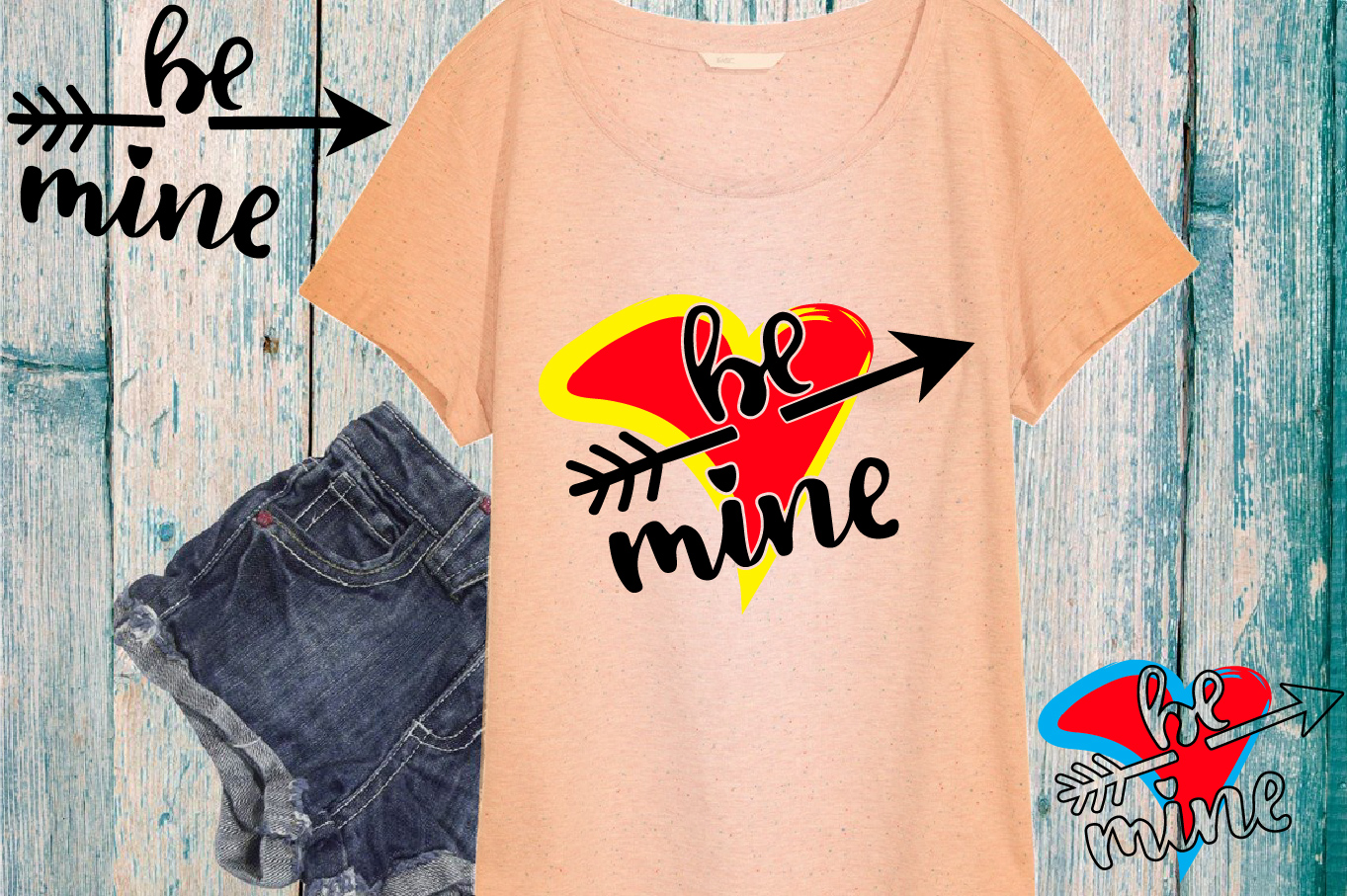 Be mine SVG love heart Valentines Day Arrow -70sv example image 1