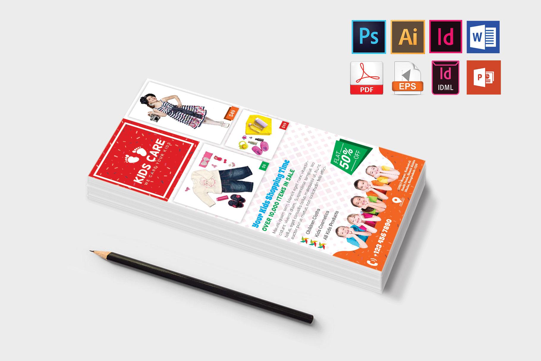 Rack Card | Kids Fashion DL Flyer Vol-03 example image 3