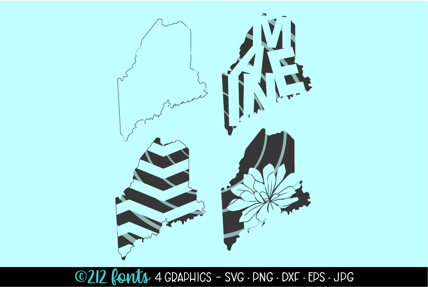 4 - Maine State Map Graphics Cut File DXF PNG JPG SVG EPS example image 1