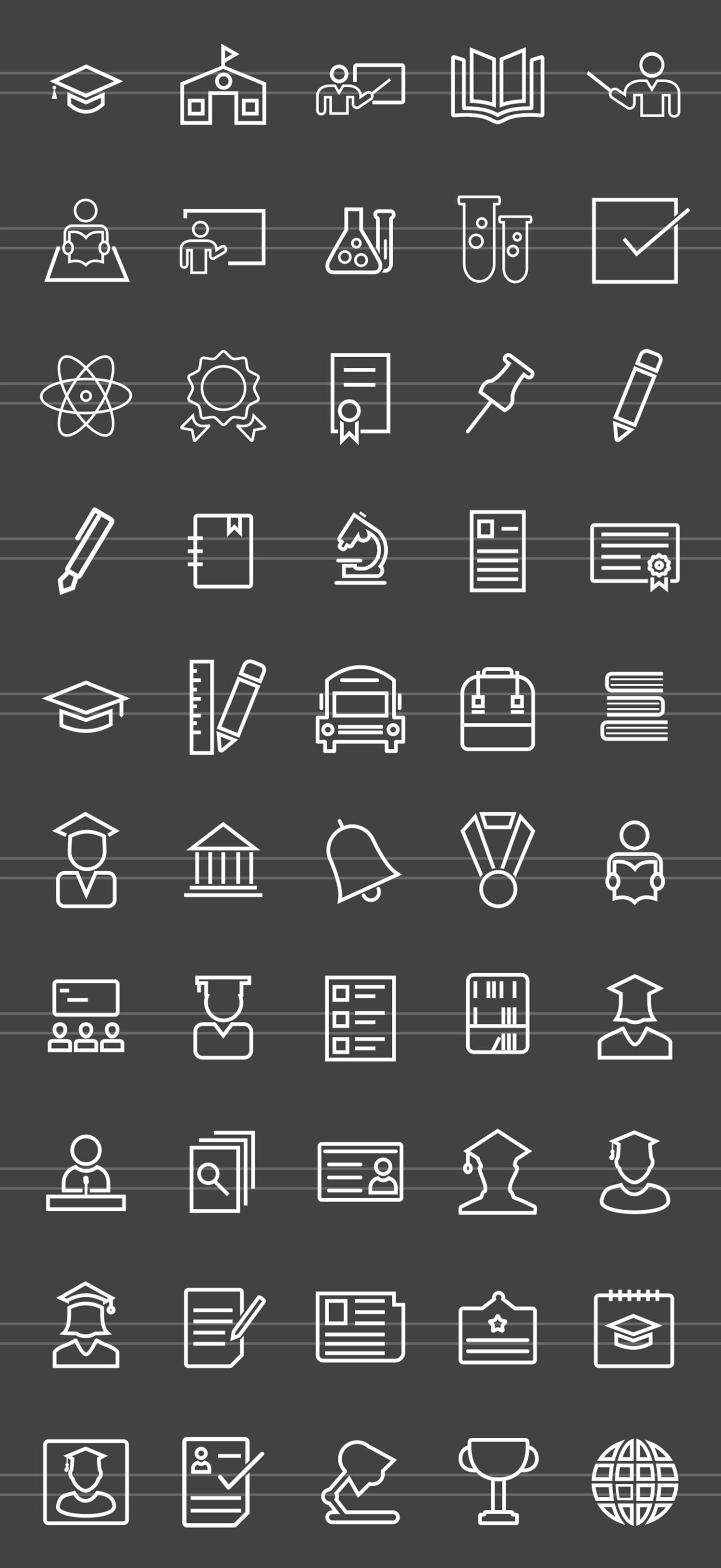 50 Academics Line Inverted Icons example image 2