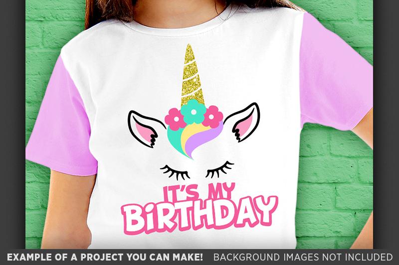 Its My Birthday Unicorn Glitter Shirt Design SVG File - 1059 example image 2