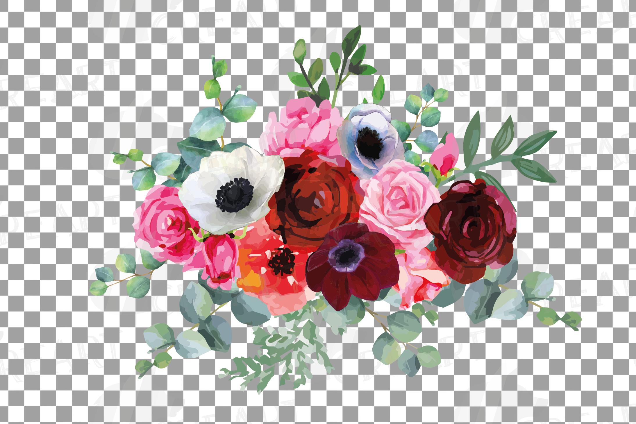 Watercolor elegant floral bouquets, rose, anemone decoration example image 13