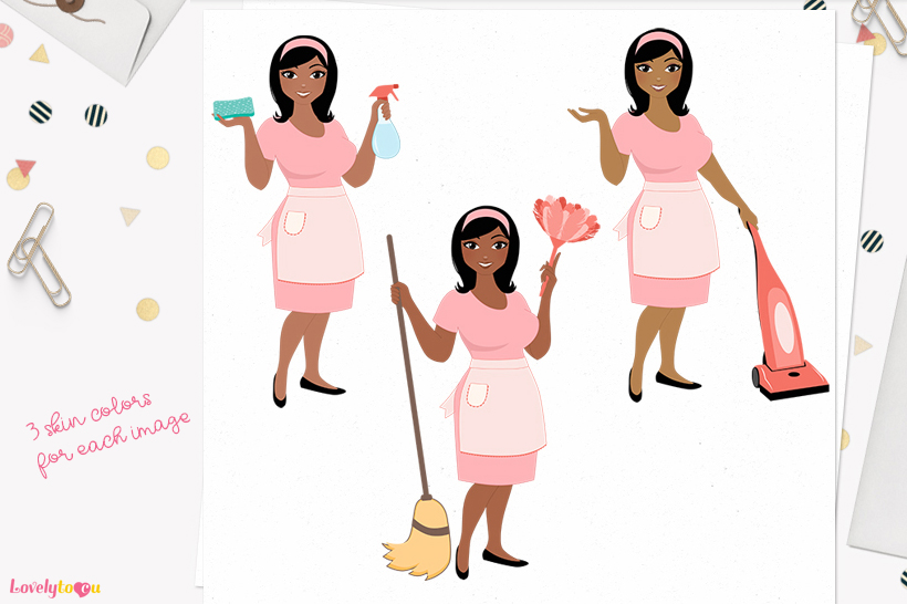Woman cleaning character clip art L184 Wendy example image 1