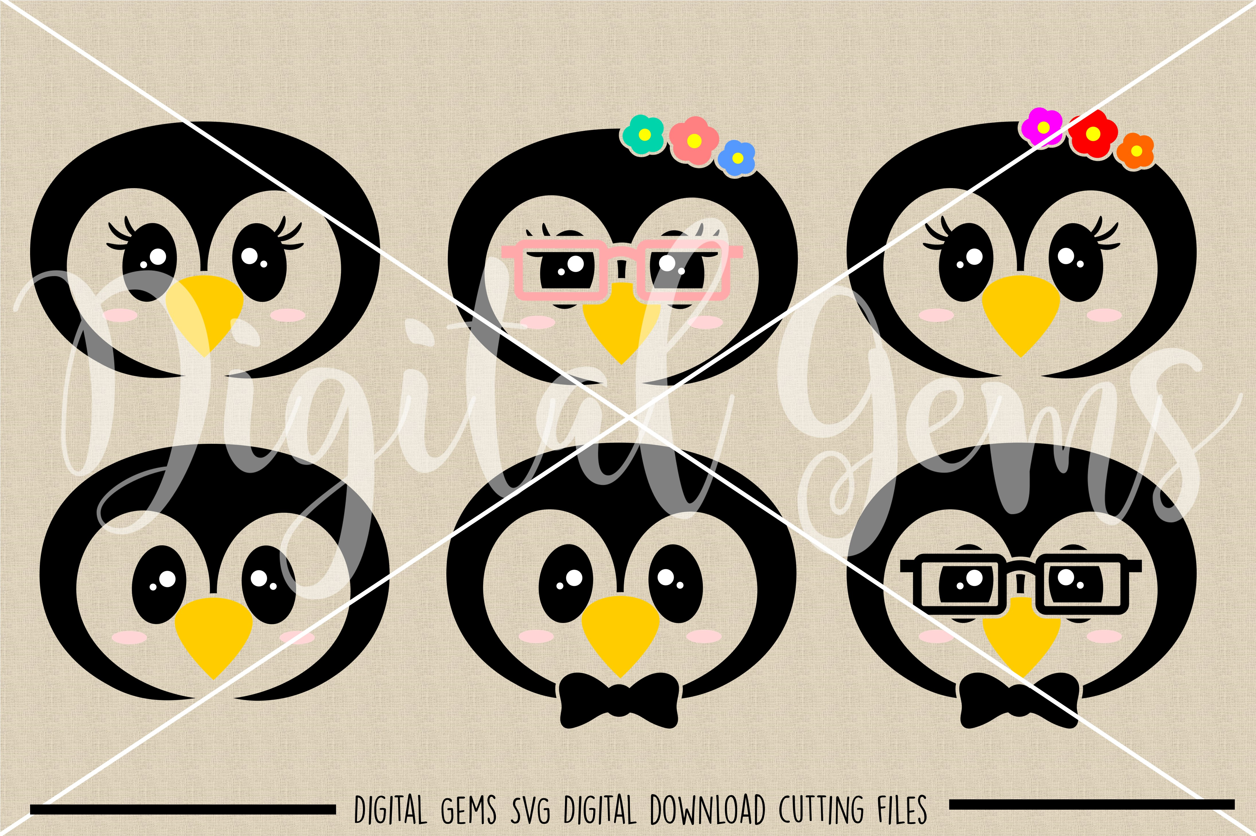 Penguin faces SVG / PNG / EPS / DXF Files example image 2