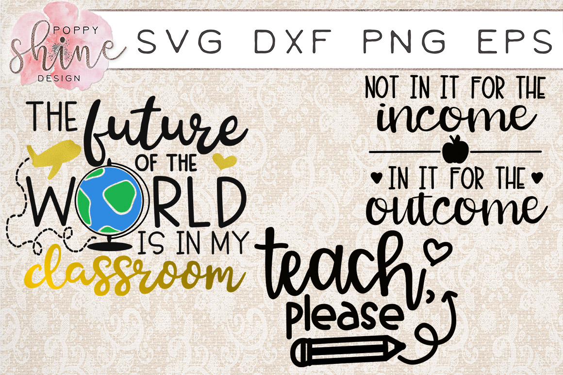 Teachin' Bundle of 17 SVG PNG EPS DXF Cutting Files example image 4
