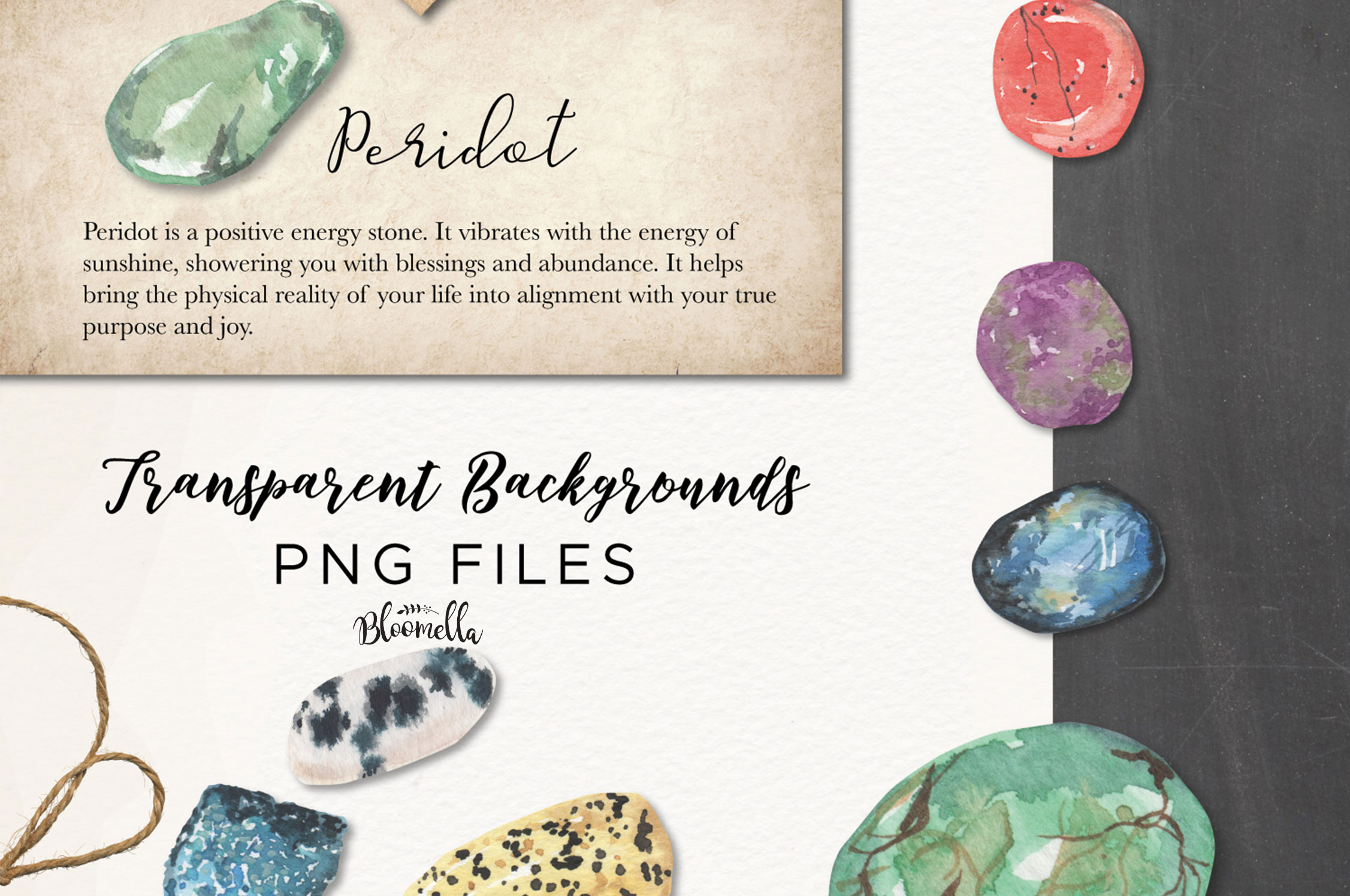 101 Gemstones Collection Watercolor Clipart ElementsCrystals example image 3