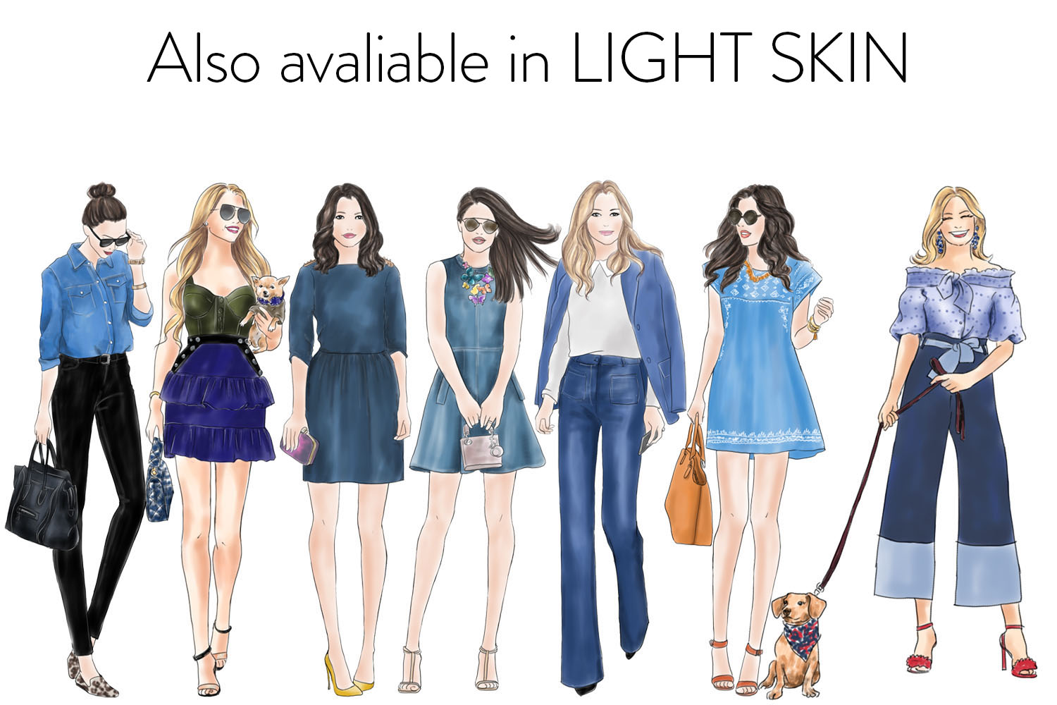 Watercolor fashion illustration clipart - Girls in Denim - Dark skin example image 4