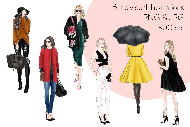 Fashion illustration clipart - Fashion Girls - Volume 11 - Light Skin example image 2