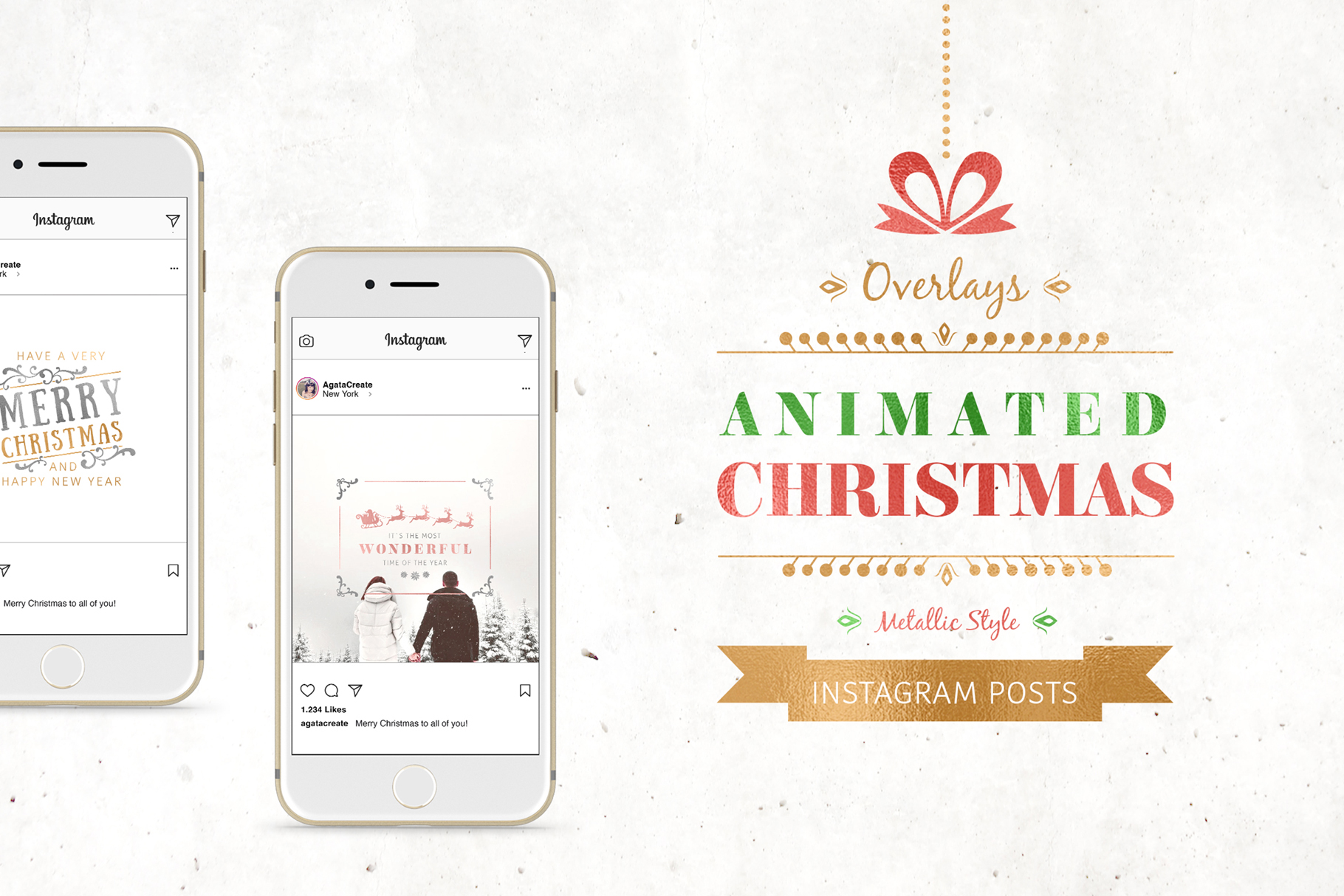 ANIMATED Christmas Posts Metallic Style example image 1
