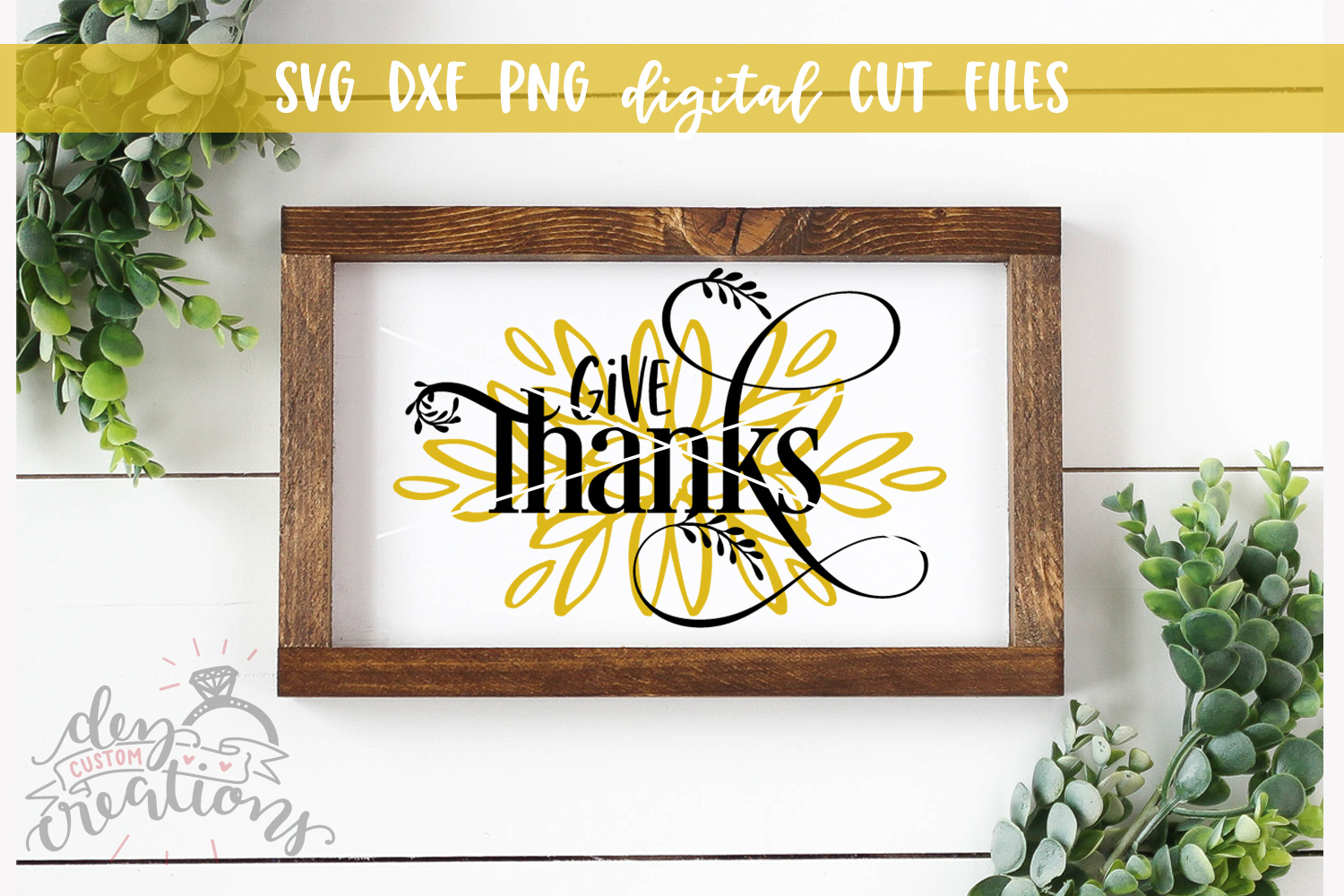 Give Thanks - SVG DXF PNG Digital Cut File example image 2