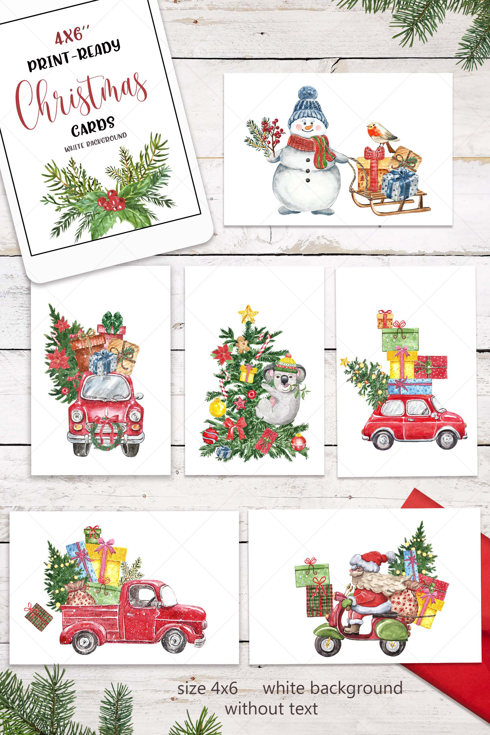 Watercolor Christmas Card Clip Art Holiday Card Set template example image 7