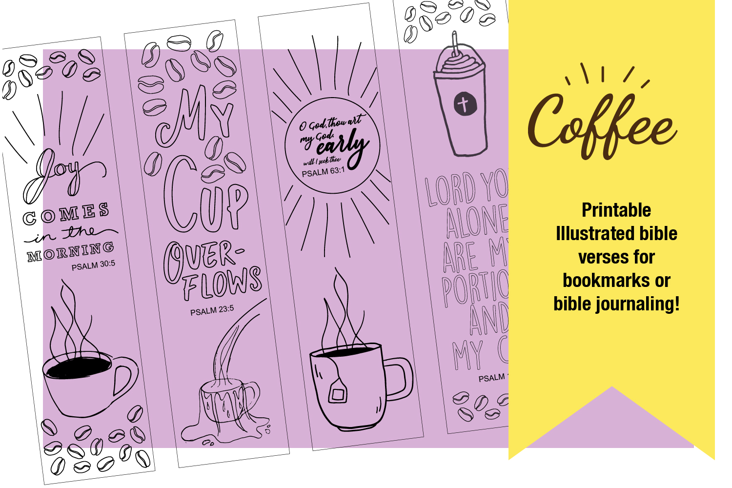 Printable Coloring page Coffee Themed Bible Verses example image 9