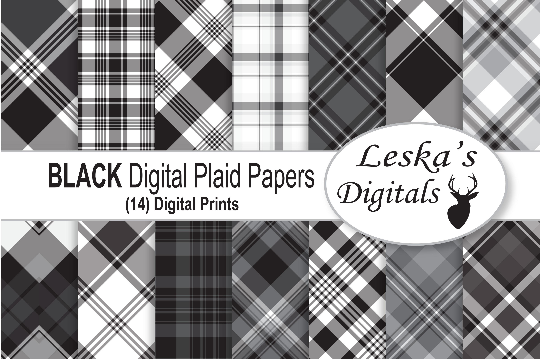 Black Plaid Digital Papers example image 1