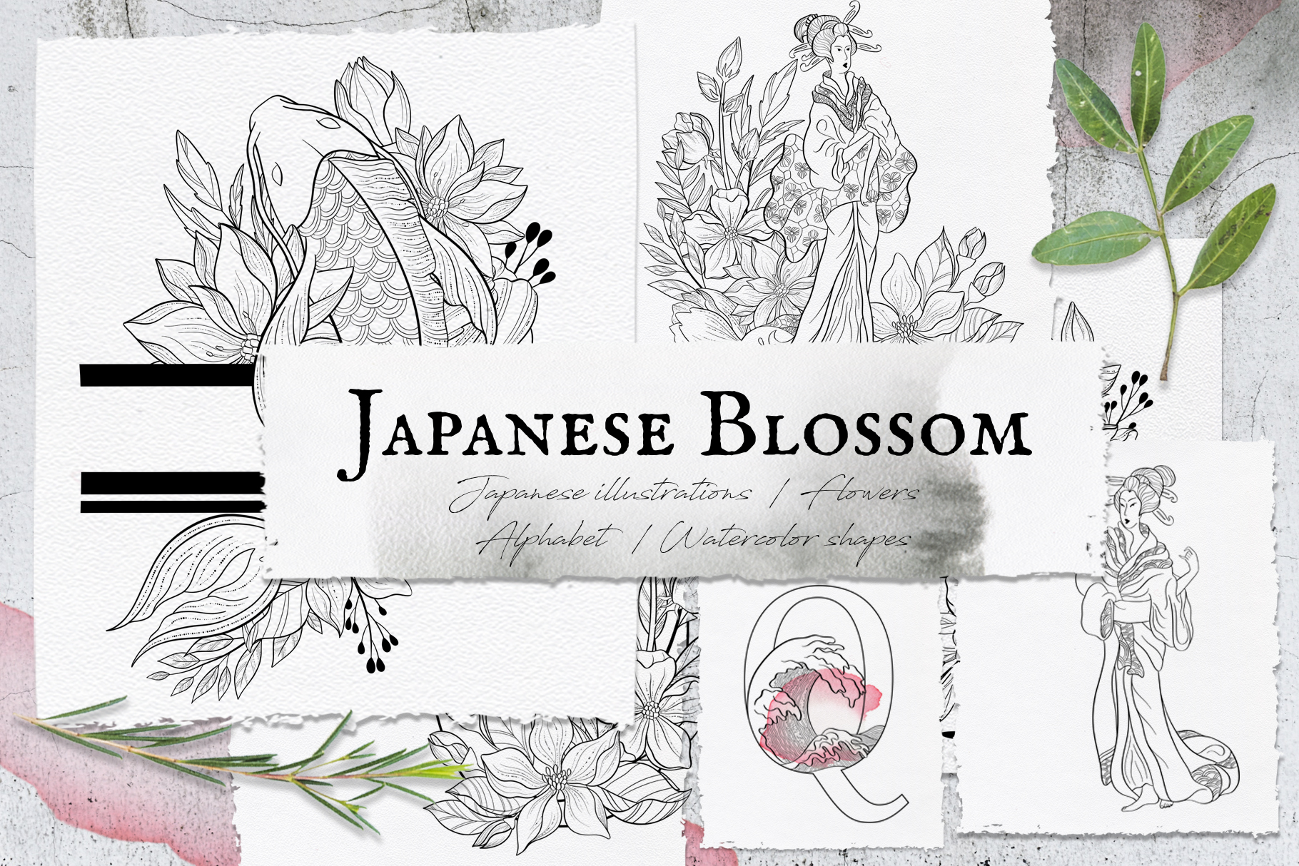Japanese Blossom. Graphic Collection example image 1
