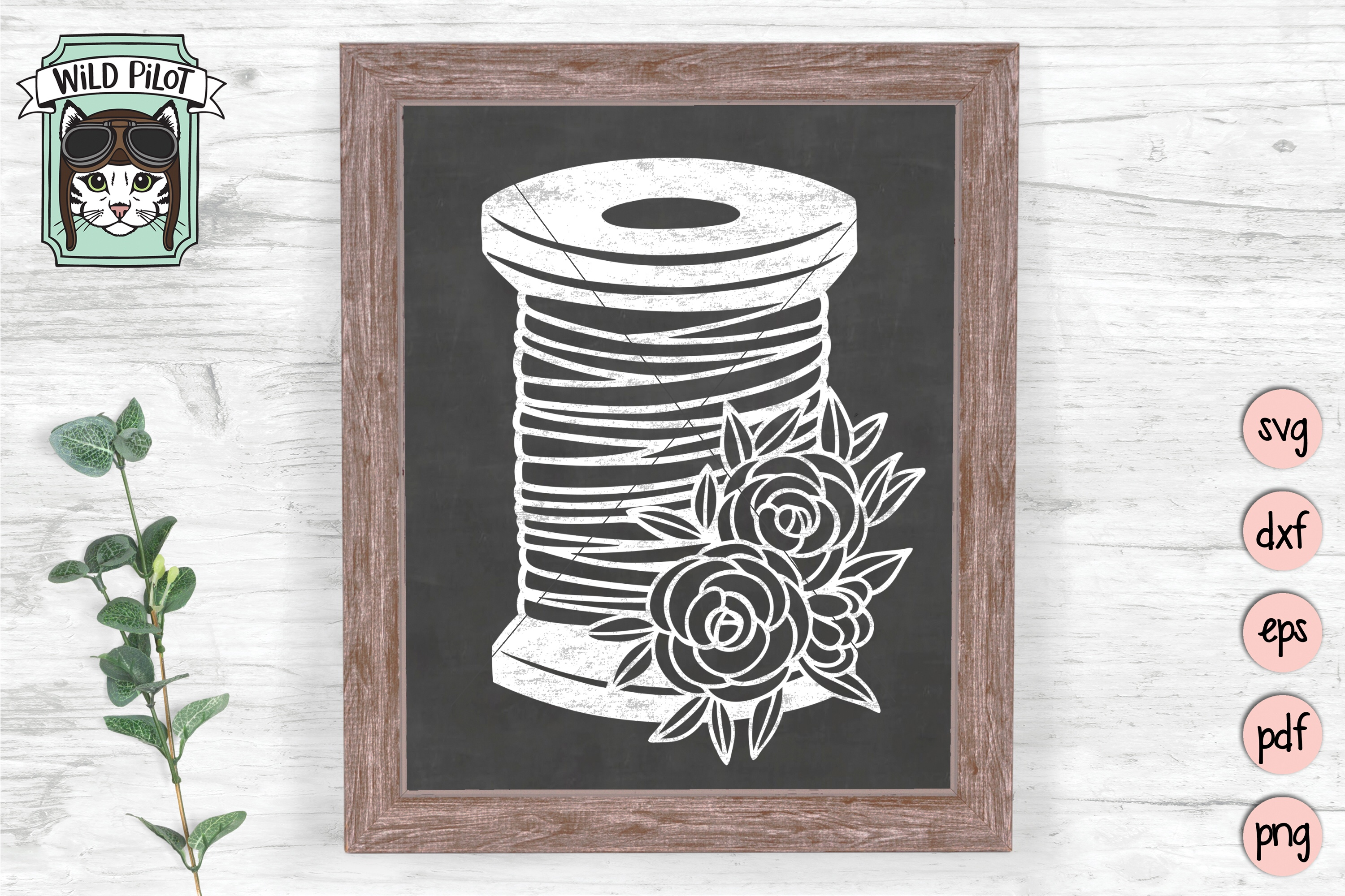 Sewing SVG, Spool of Thread cut file, flowers, craft svg example image 2