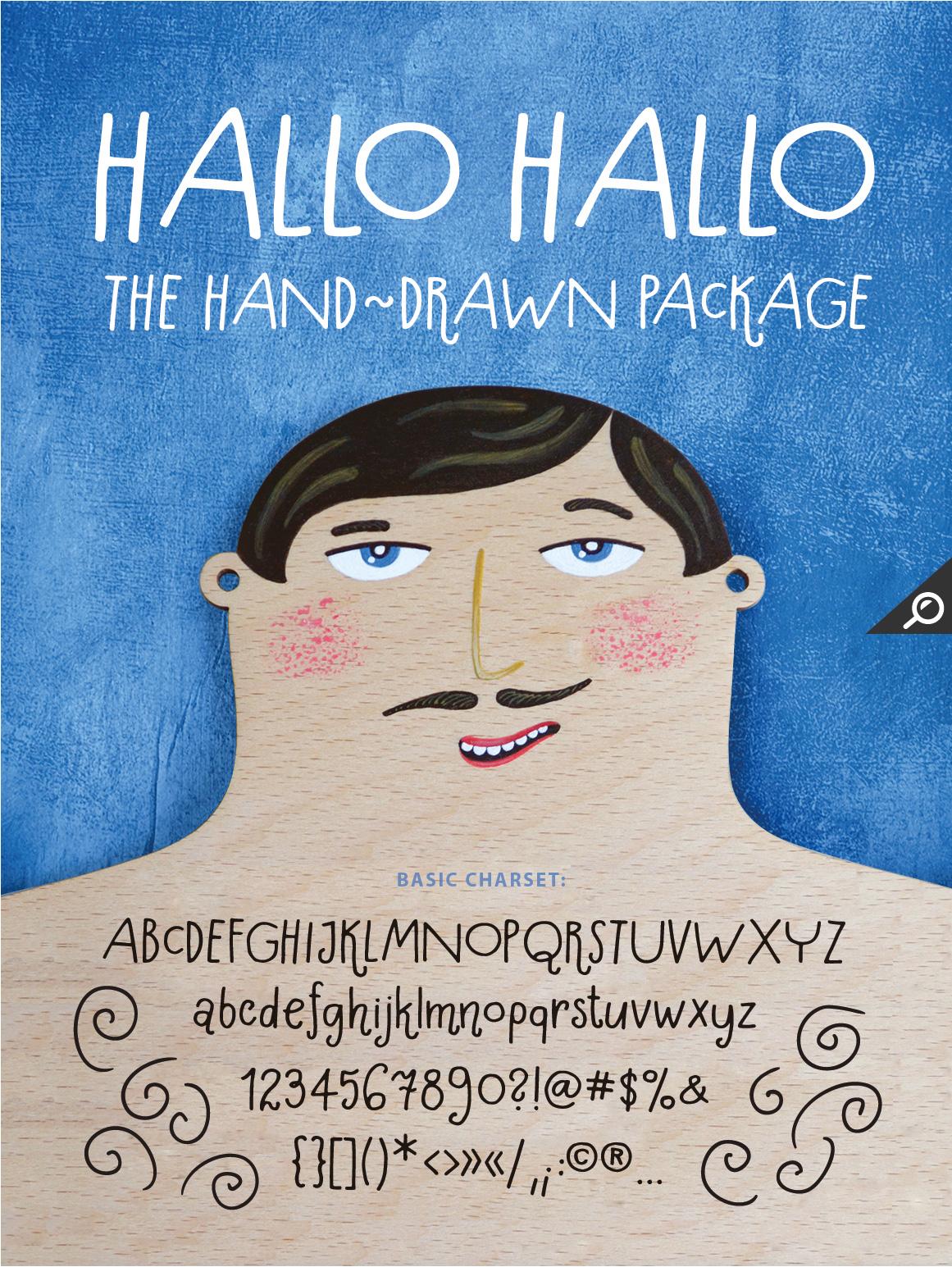 Hallo Hallo - HandDrawn Font Package example image 1