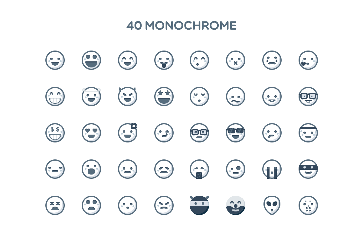 Simple Emoticons in 2 styles example image 3