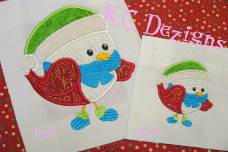 Christmas Bird 01 Machine Applique Embroidery Design example image 1