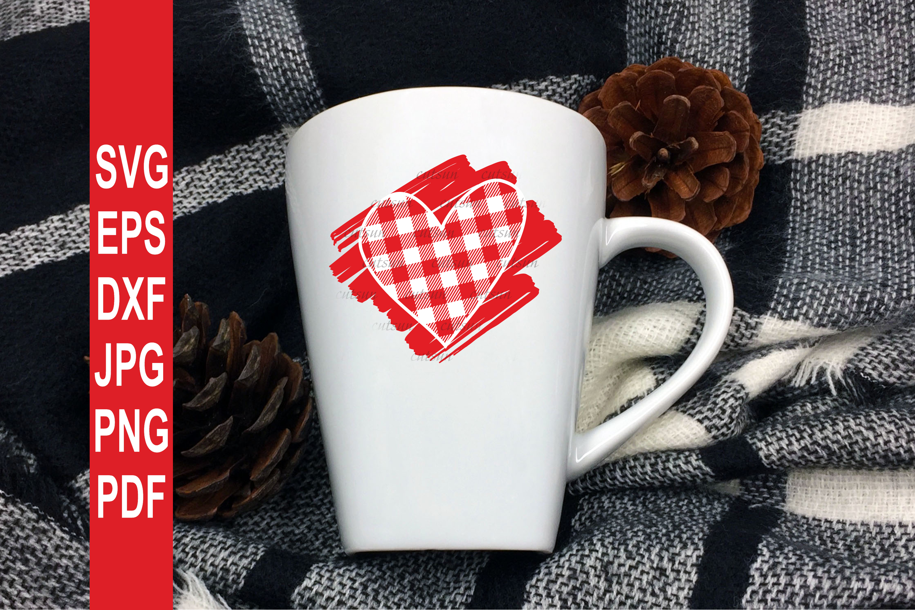 Valentine SVG  Plaid Heart on a scribble   Heart plaid example image 5