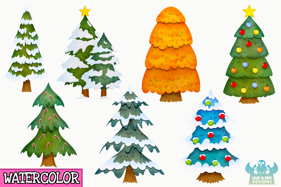 Christmas Trees Watercolor Clipart, Instant Download example image 2