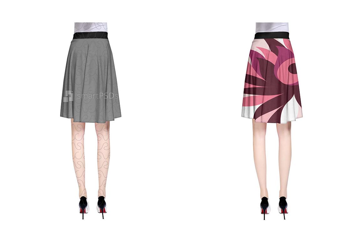 A-Line Skirt Dress Design Mockup for Textile Print Sublimation - 2 Views example image 2