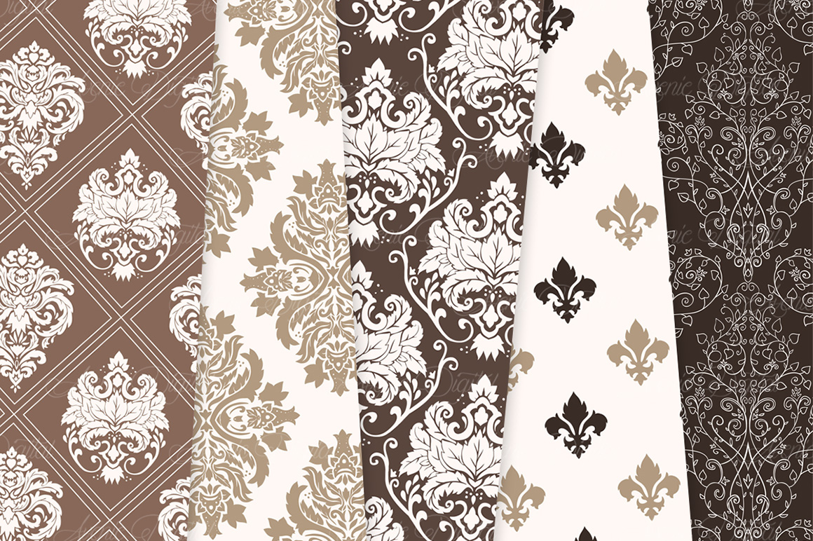 Brown Damask Patterns - Seamless Digital Papers example image 6