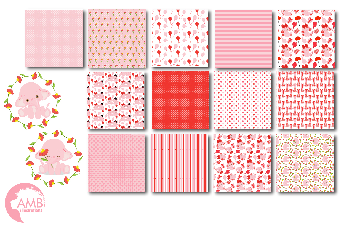 ELEPHANT babies in pink! BUNDLE! 53 cliparts, graphics and illustrations and Patterns AMB-2276 example image 5