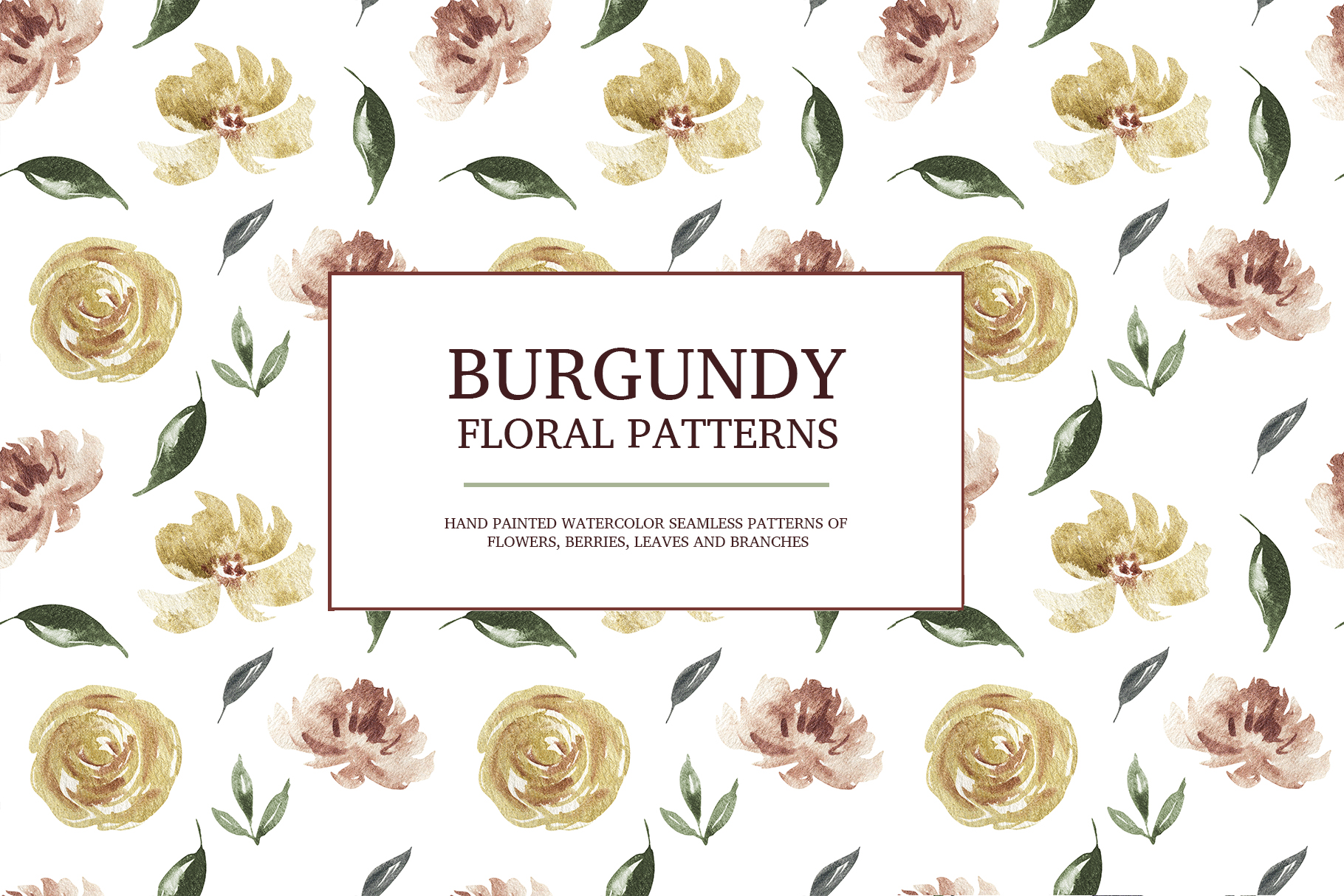 Burgundy floral seamless patterns, Seamless peony pattern example image 7