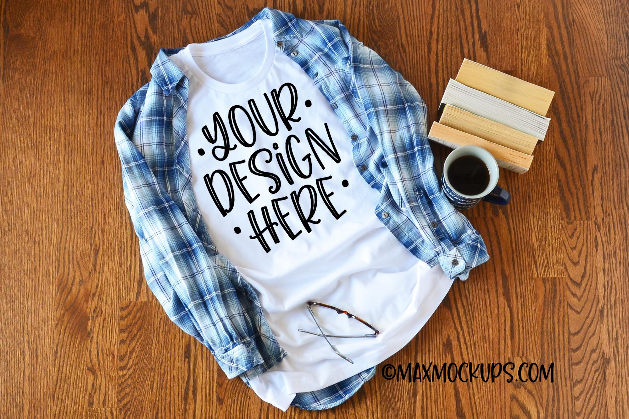 White t-shirt mockup Bella Canvas 3001, plaid, coffee, books example image 1